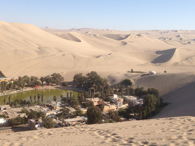 Huacachina desert oasis: A natural oasis that has become a tourist attraction; however, due to water shortages, they not are pumping water into the lake.